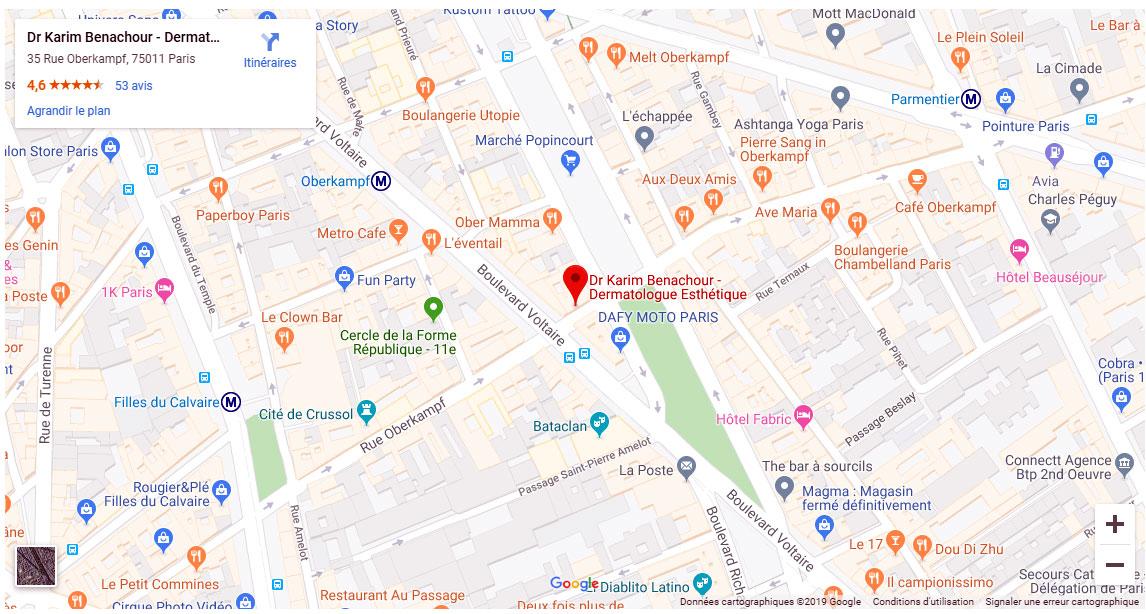 Trouver le centre de dermatologie esthétique du dr Benachour à Paris
